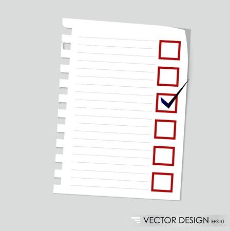 cheque en blanco: Una lista de verificación con marcador negro y rojo Concepto comprobado cajas