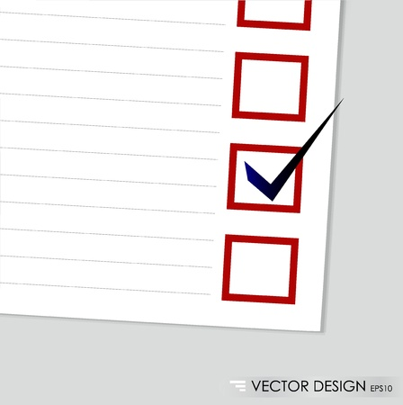 A checklist with black marker and red checked boxes  Concept  Vector