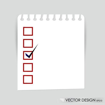 Eine Checkliste mit schwarzen und roten Marker angekreuzte Kästchen Konzept