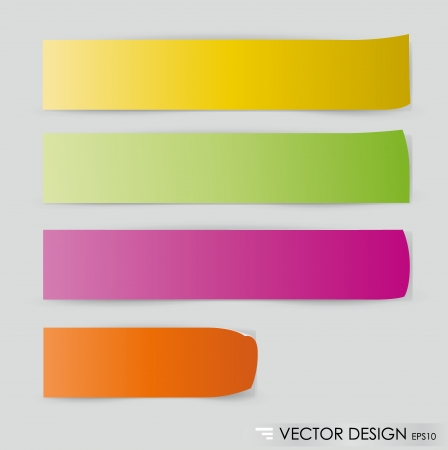 Collection of colorful note papers, ready for your message   Vector