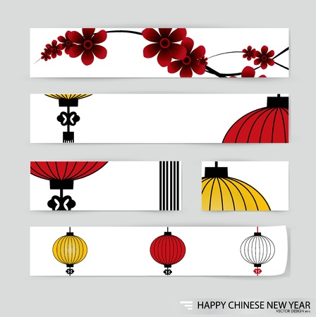 chinese flower: Note paper, ready for your message   illustration  Illustration