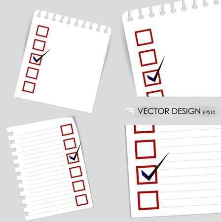 A checklist with black marker and red checked boxes. Concept  illustration Vector