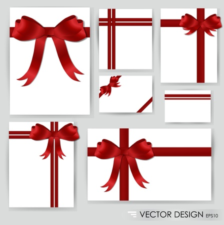Big set of red gift bows with ribbons illustration. Vector