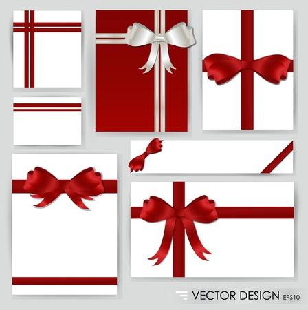 Grande insieme di archi regalo rosso con illustrazione nastri.