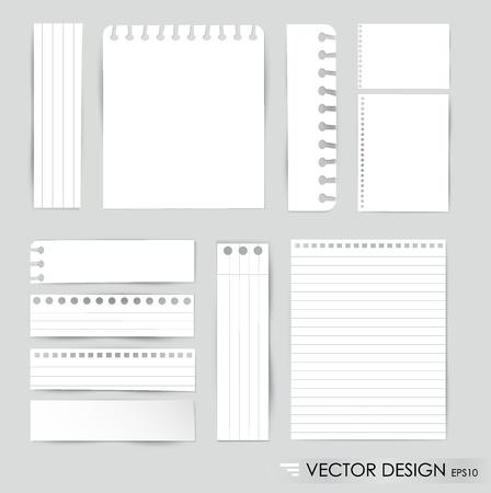 Verzameling van diverse witte notitieblaadjes, klaar voor uw bericht illustratie.