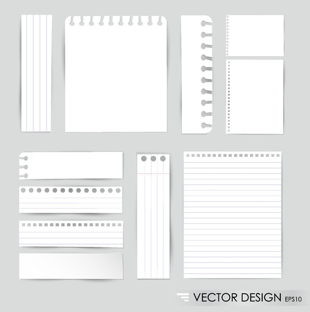 Collection of various white note papers, ready for your message illustration. Vector