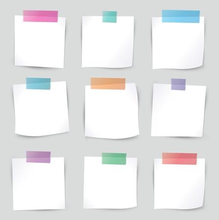 sticky tape: Colecci�n de varios papeles de nota blanca, listo para su ilustraci�n mensaje