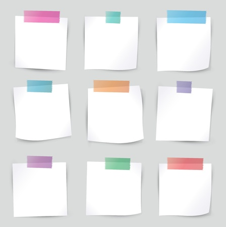 sticky paper: Collection of various white note papers, ready for your message   illustration