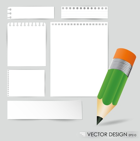 Pencil and white paper, ready for your message illustration  Vector
