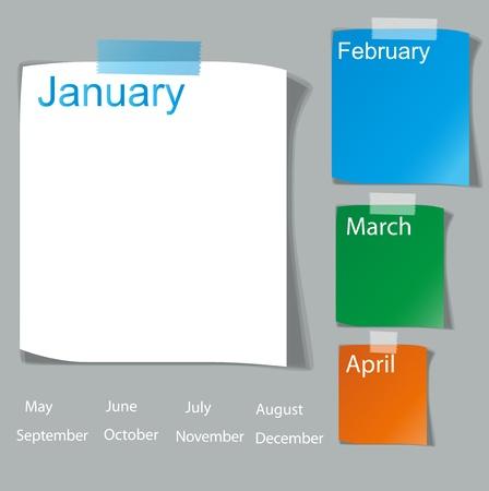 note de service: Collection de divers papiers de note blanc, pr�t pour votre illustration message Illustration