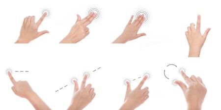 touchscreen: Grupo de la mano de mujeres utilizan gestos multi-touch para tablets o dispositivos de pantalla t�ctil Foto de archivo
