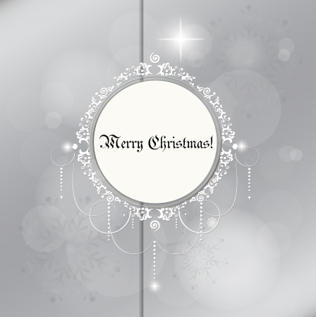 Christmas card  Light silver abstract Christmas background with white snowflakes, vector illustration  Vector