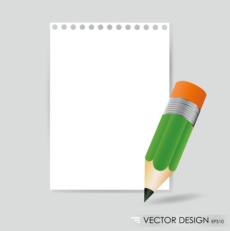 Pencil and white paper, ready for your message. Vector illustration. Vector