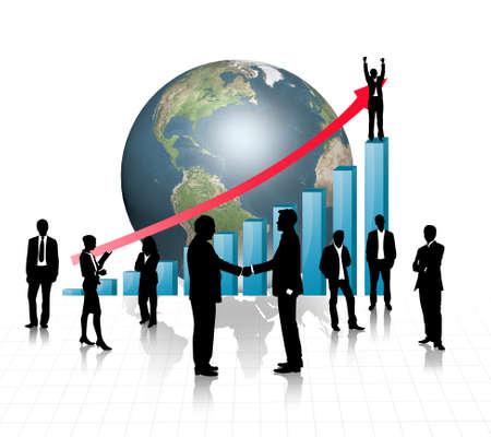 Silhouettes biznesowych z niebieskim wykresem