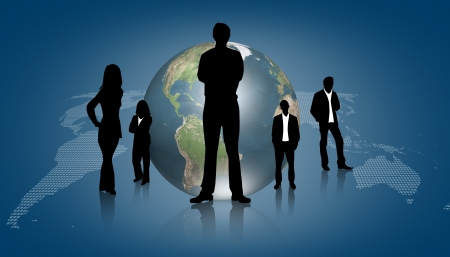 Silhouettes of business with blue graph photo