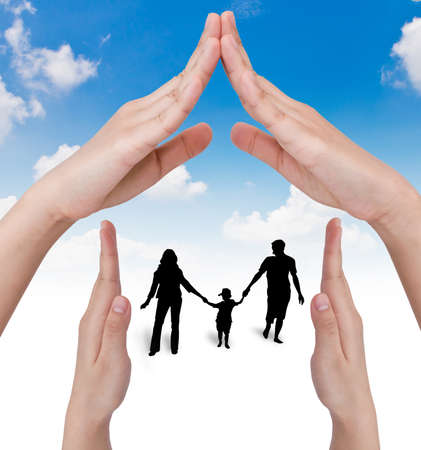 real man: Hand with the silhouettes of the family