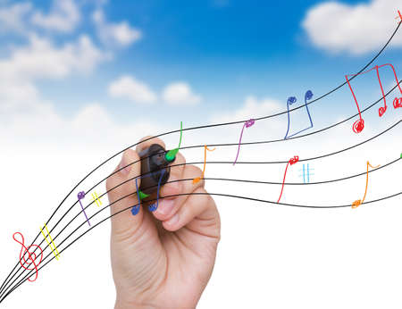 sheetmusic: Hand write colorful note inthe sky