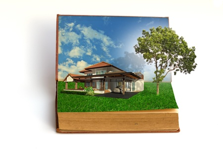 magic book: magic book with house and tree Stock Photo