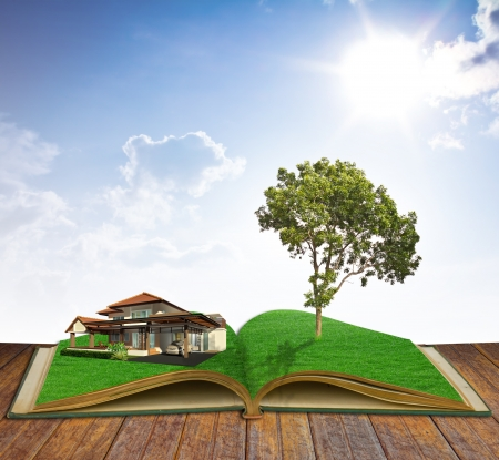 dream land: magic book with house and tree Stock Photo