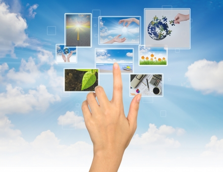 Hand touches the flow of image Stock Photo - 14943788