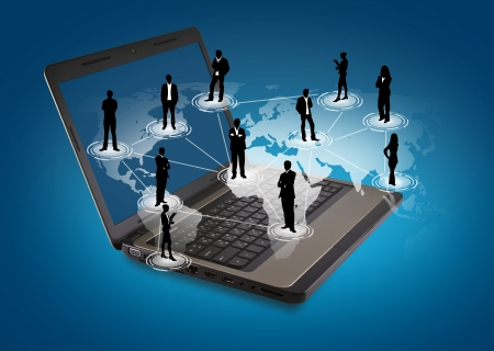 desktop background: Social networking concept : Laptop with social network on world map