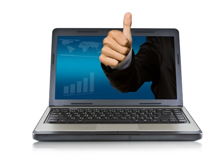 thumps up: Business hand thumps up come out of the laptop screen