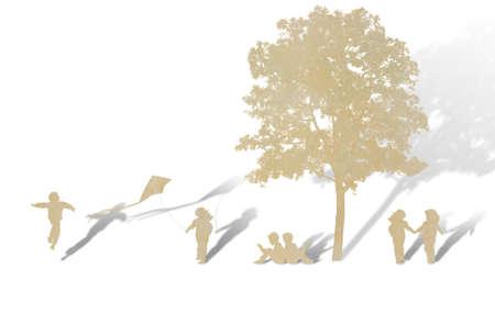 paper cut: Paper cut of children play