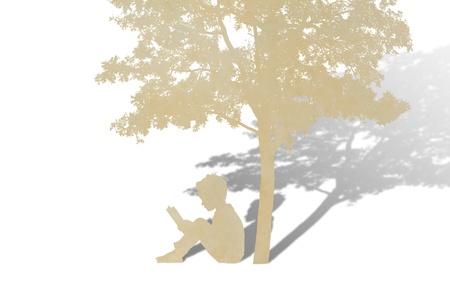 padres hablando con hijos: Corte del papel de los ni�os leen un libro bajo el �rbol contra el fondo blanco