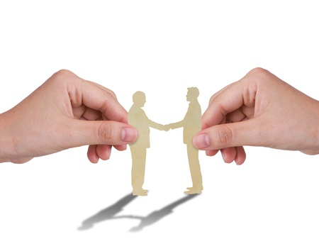 blind people: Hand with the paper cut of two business man
