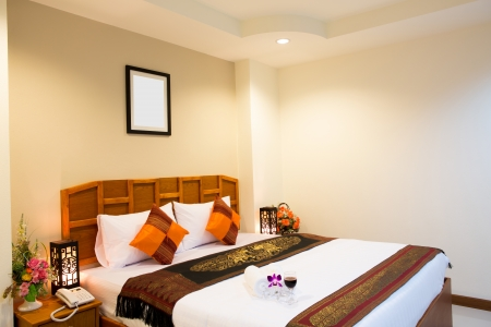 Interior of modern comfortable hotel room photo