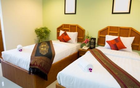 Interior of modern comfortable hotel room photo