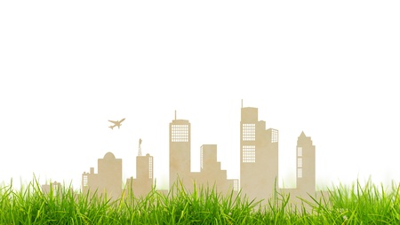 Paper cut of city and grass photo