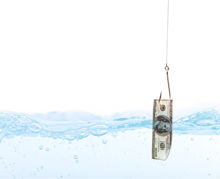 Fish hook underwater with dollar Stock Photo - 14941907