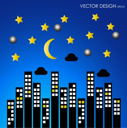 compiled: City buildings at night  Vector illustration  Illustration