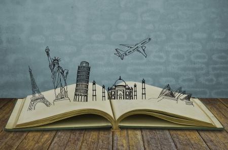 여행의 책 (호주, 프랑스, I TALY, 뉴욕, 인도,) 스톡 사진