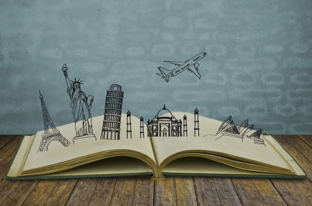 bookstores: Book of travel (Australia,France,I taly,New York,India,) Stock Photo