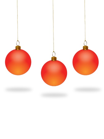 Red christmas ball on white background with copy space. Stock Photo