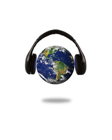 Earth with headphone - isolated over white photo