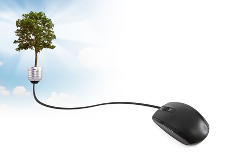 Computer mouse wire into the a lightbulb with tree Stock Photo - 15093438