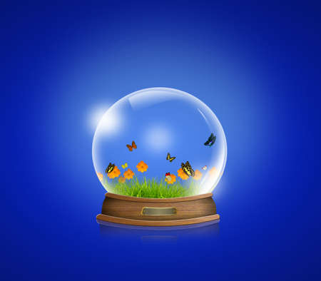 christal: snow-dome with Yellow flowers, green grass and butterfly inside against a blue background