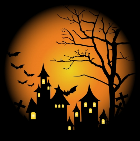 Halloween-themed Design: Halloween background with haunted house, bats and full moon, vector illustration. Vector