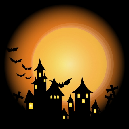 horror castle: Halloween-themed Design: Halloween background with haunted house, bats and full moon, vector illustration.