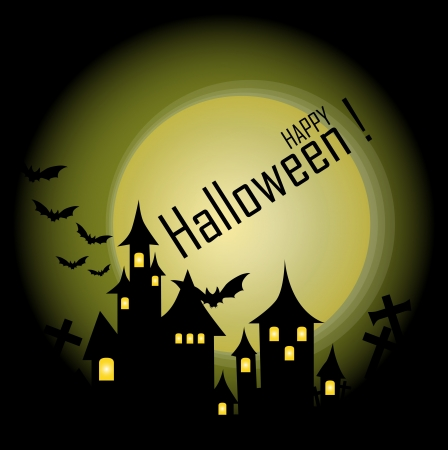 Halloween-themed Design: Halloween background with haunted house, bats and full moon, vector illustration. Stock Vector - 15093933