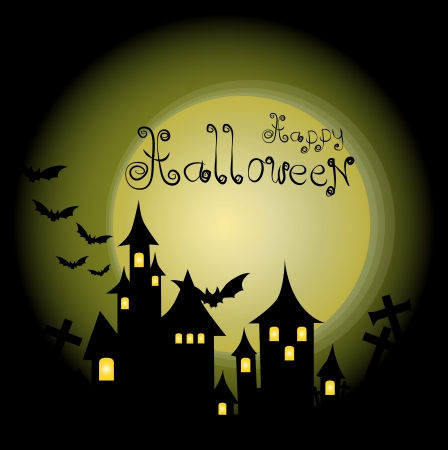 spook: Halloween-themed Design: Halloween background with haunted house, bats and full moon, vector illustration.