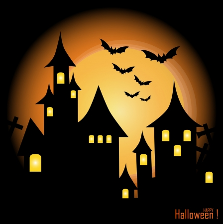 house party: Halloween-themed Design: Halloween background with haunted house, bats and full moon, vector illustration.