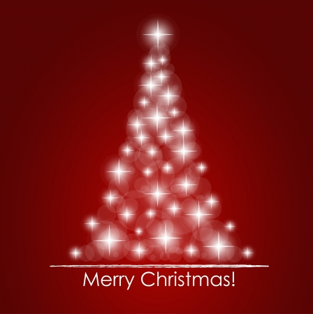 fir tree red: Christmas background with Christmas tree