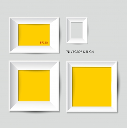yellow photo: White modern frames on the wall