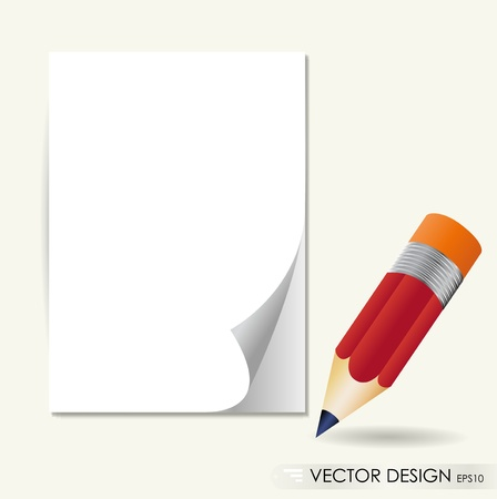 Pencil and white paper, ready for your message. Vector