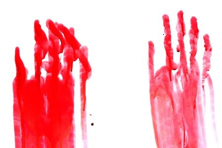 manos sucias: Bloody impresión de una mano y de los dedos en la pared blanca