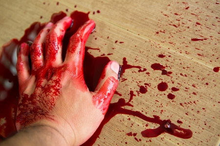 Halloween concept : Hand in blood Stock Photo
